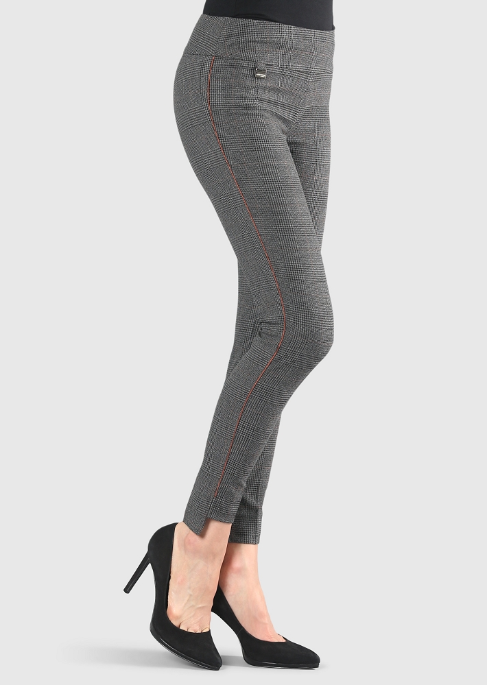 Lisette L. Slim Ankle Hi-Lo Pant Style 279729 Cambridge Plaid Color Black